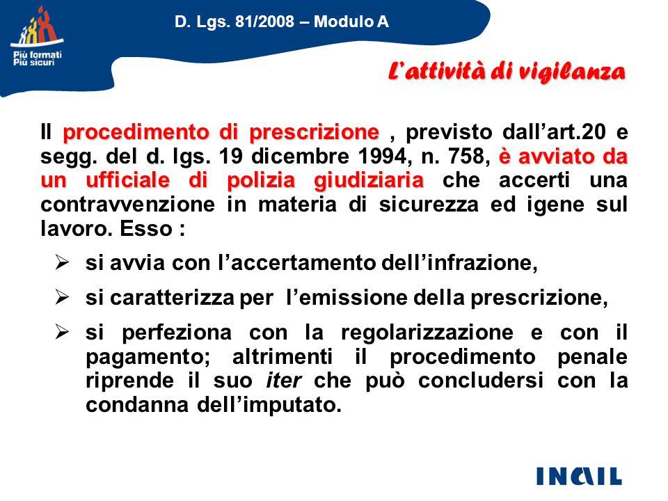 D. Lgs. 81/2008 – Modulo A procedimento di prescrizione dè avviato da un ufficiale di polizia giudiziaria Il procedimento di prescrizione, previsto da