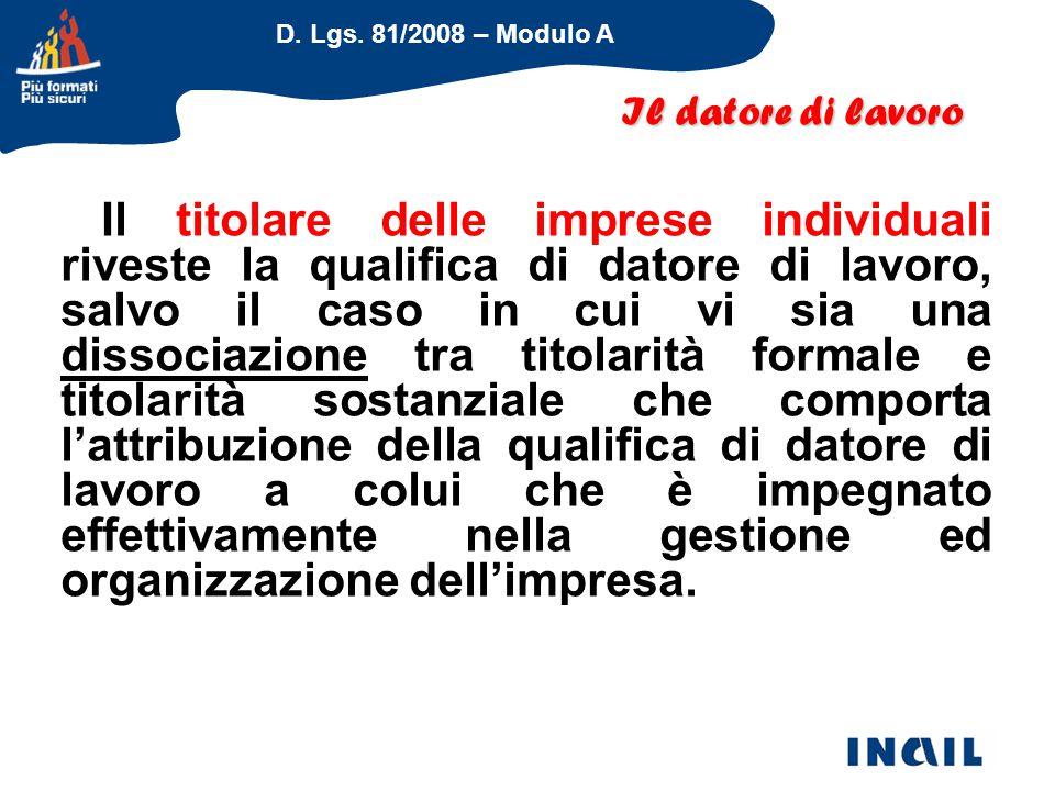D. Lgs. 81/2008 – Modulo A Il titolare delle imprese individuali riveste la qualifica di datore di lavoro, salvo il caso in cui vi sia una dissociazio