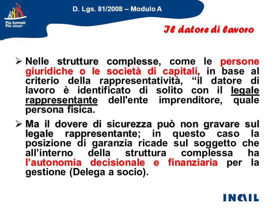 D. Lgs. 81/2008 – Modulo A strutture complessepersone giuridiche o le società di capitali legale rappresentante  Nelle strutture complesse, come le p