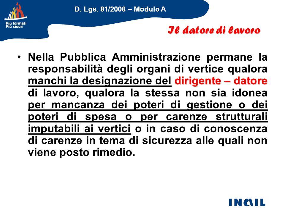 D. Lgs. 81/2008 – Modulo A dirigente – datoreNella Pubblica Amministrazione permane la responsabilità degli organi di vertice qualora manchi la design