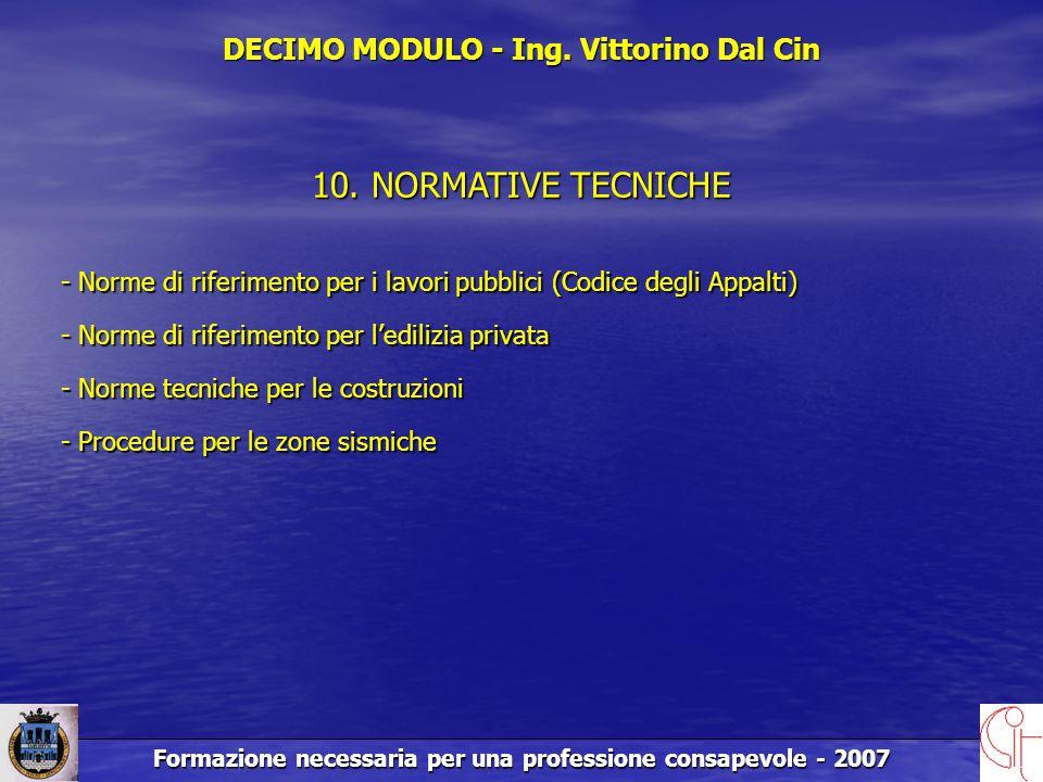 Formazione necessaria per una professione consapevole - 2007 DECIMO MODULO - Ing.