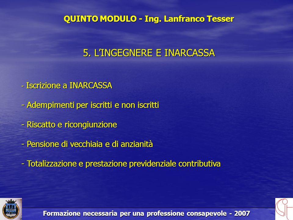Formazione necessaria per una professione consapevole - 2007 QUINTO MODULO - Ing.