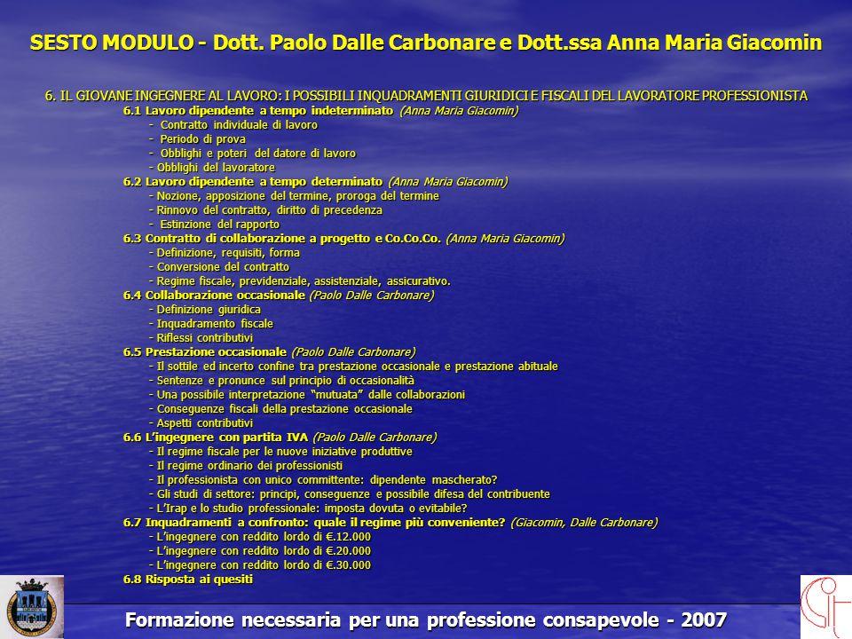 Formazione necessaria per una professione consapevole - 2007 SESTO MODULO - Dott.
