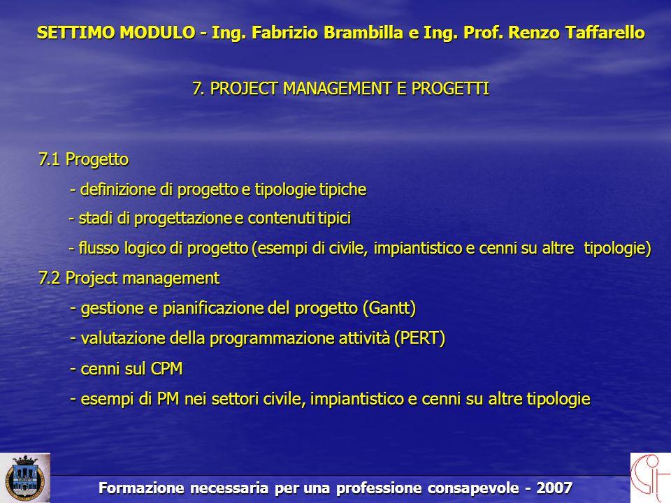 Formazione necessaria per una professione consapevole - 2007 SETTIMO MODULO - Ing.