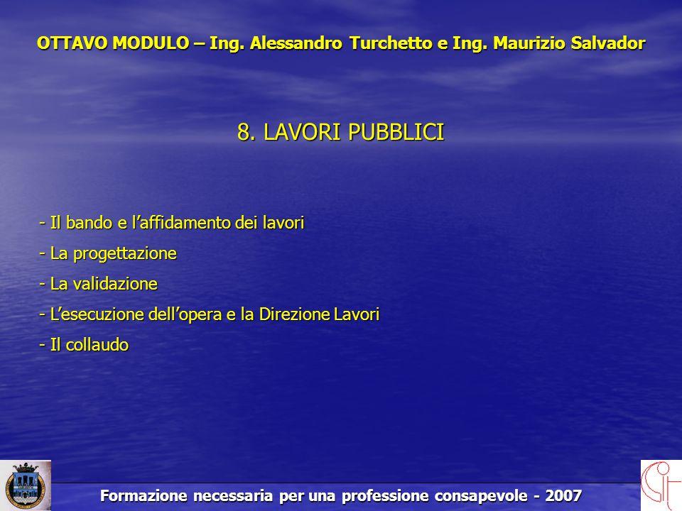 Formazione necessaria per una professione consapevole - 2007 OTTAVO MODULO – Ing.