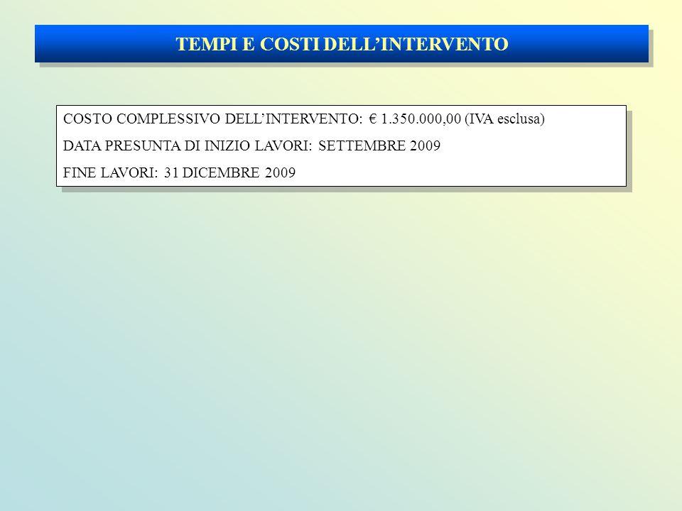 TEMPI E COSTI DELL'INTERVENTO COSTO COMPLESSIVO DELL'INTERVENTO: € 1.350.000,00 (IVA esclusa) DATA PRESUNTA DI INIZIO LAVORI: SETTEMBRE 2009 FINE LAVORI: 31 DICEMBRE 2009 COSTO COMPLESSIVO DELL'INTERVENTO: € 1.350.000,00 (IVA esclusa) DATA PRESUNTA DI INIZIO LAVORI: SETTEMBRE 2009 FINE LAVORI: 31 DICEMBRE 2009