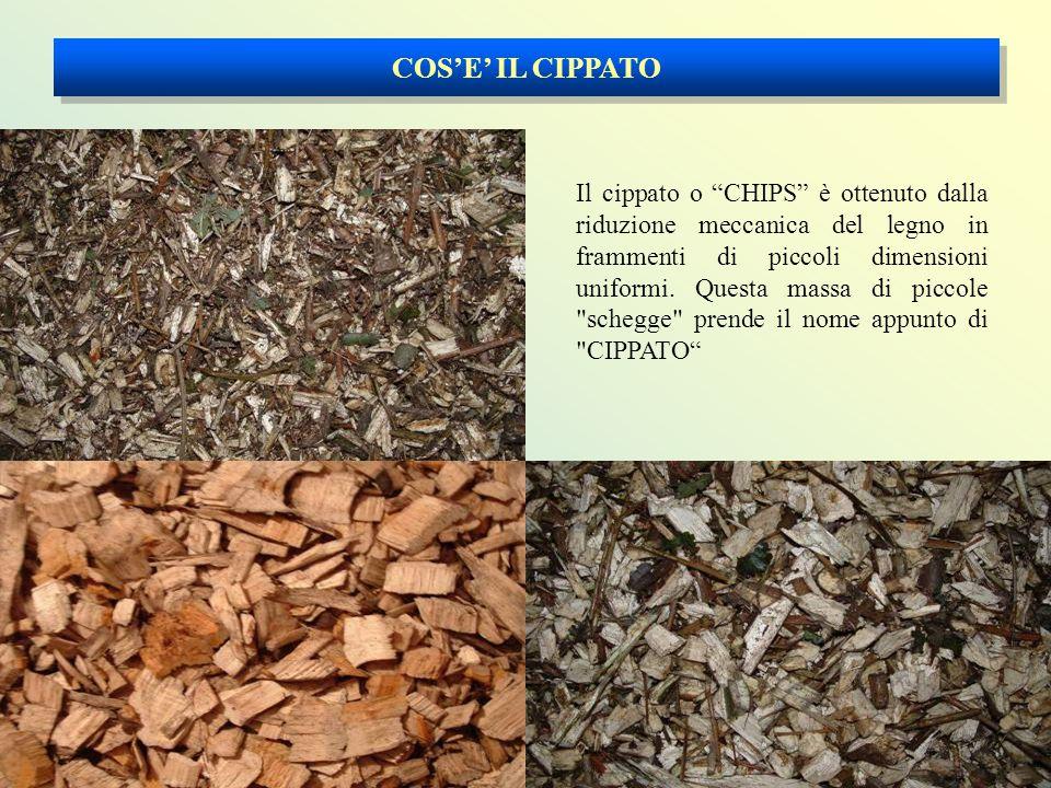 COS'E' IL CIPPATO Il cippato o CHIPS è ottenuto dalla riduzione meccanica del legno in frammenti di piccoli dimensioni uniformi.