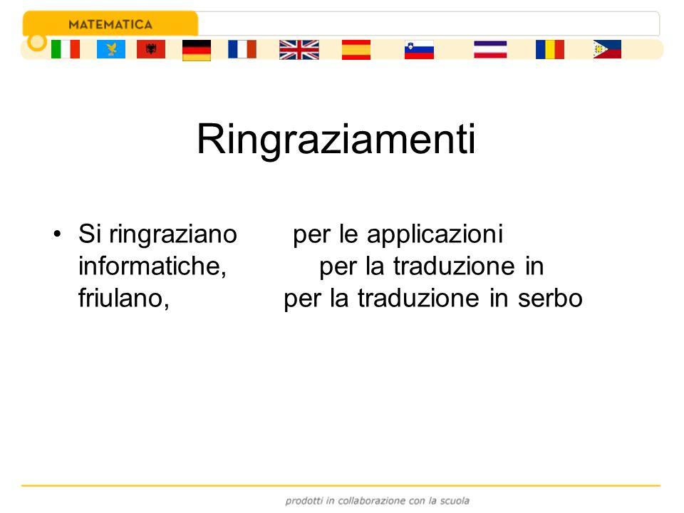 Si ringraziano per le applicazioni informatiche, per la traduzione in friulano, per la traduzione in serbo Ringraziamenti