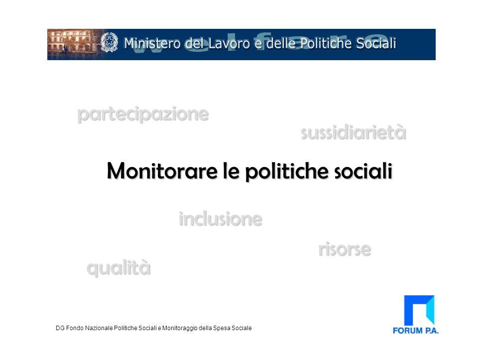 Monitorare le politiche sociali DG Fondo Nazionale Politiche Sociali e Monitoraggio della Spesa Sociale qualità inclusione sussidiarietà partecipazion