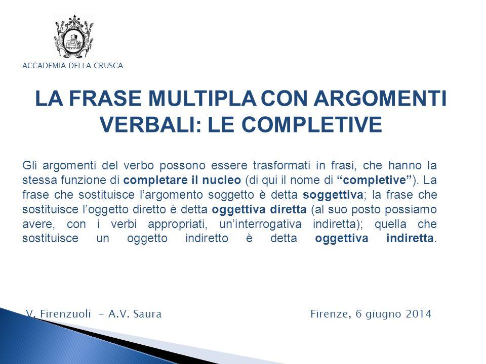 ACCADEMIA DELLA CRUSCA LA FRASE MULTIPLA CON ARGOMENTI VERBALI: LE COMPLETIVE V. Firenzuoli - A.V. Saura Firenze, 6 giugno 2014 Gli argomenti del verb