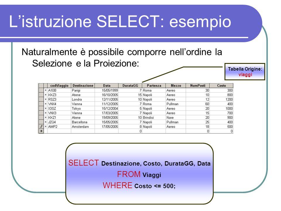 L'istruzione SELECT: esempio Naturalmente è possibile comporre nell'ordine la Selezione e la Proiezione: SELECT Destinazione, Costo, DurataGG, Data FROM Viaggi WHERE Costo <= 500; Tabella Origine: viaggi
