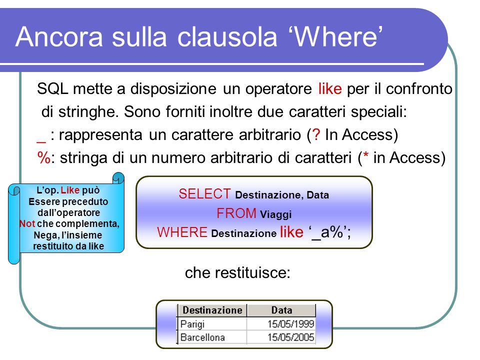 Ancora sulla clausola 'Where' SQL mette a disposizione un operatore like per il confronto di stringhe. Sono forniti inoltre due caratteri speciali: _