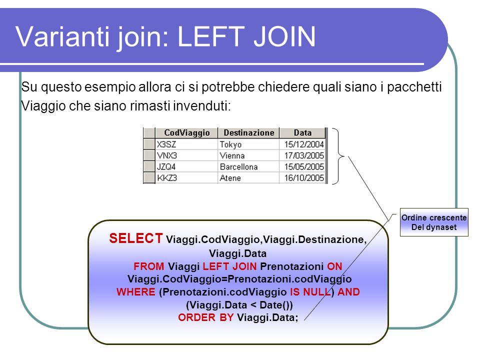 Varianti join: LEFT JOIN Su questo esempio allora ci si potrebbe chiedere quali siano i pacchetti Viaggio che siano rimasti invenduti: SELECT Viaggi.C