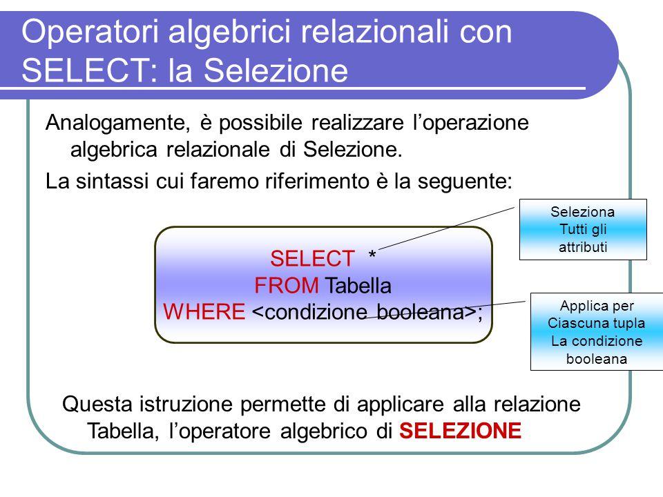 Operatori algebrici relazionali con SELECT: la Selezione Analogamente, è possibile realizzare l'operazione algebrica relazionale di Selezione. La sint