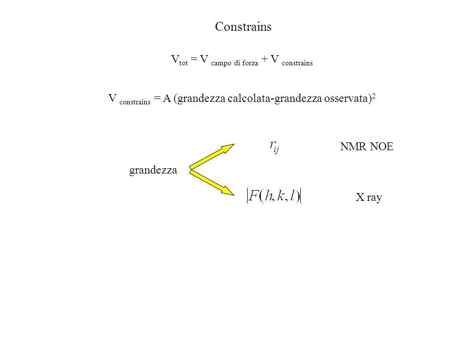 Constrains V tot = V campo di forza + V constrains V constrains = A (grandezza calcolata-grandezza osservata) 2 grandezza NMR NOE X ray