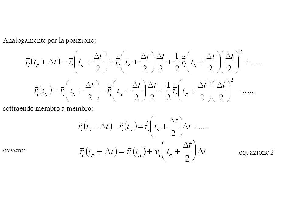 Analogamente per la posizione: sottraendo membro a membro: ovvero: equazione 2