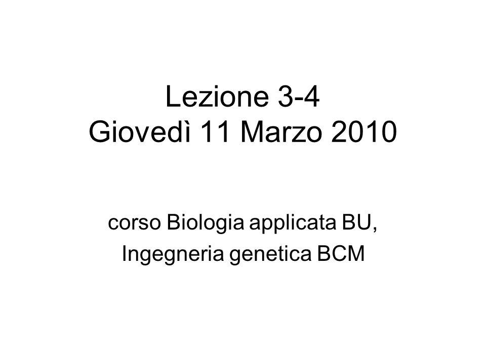 Lezione 3-4 Giovedì 11 Marzo 2010 corso Biologia applicata BU, Ingegneria genetica BCM