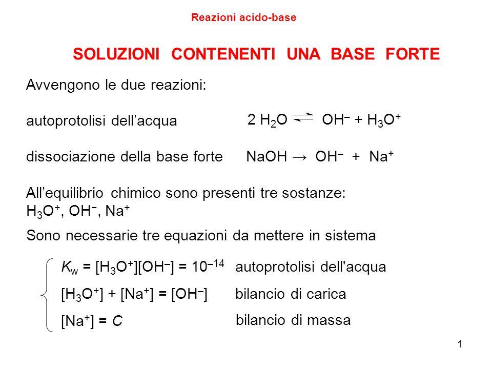 1 Avvengono le due reazioni: autoprotolisi dell'acqua dissociazione della base forte NaOH → OH – + Na + 2 H 2 O OH – + H 3 O + All'equilibrio chimico