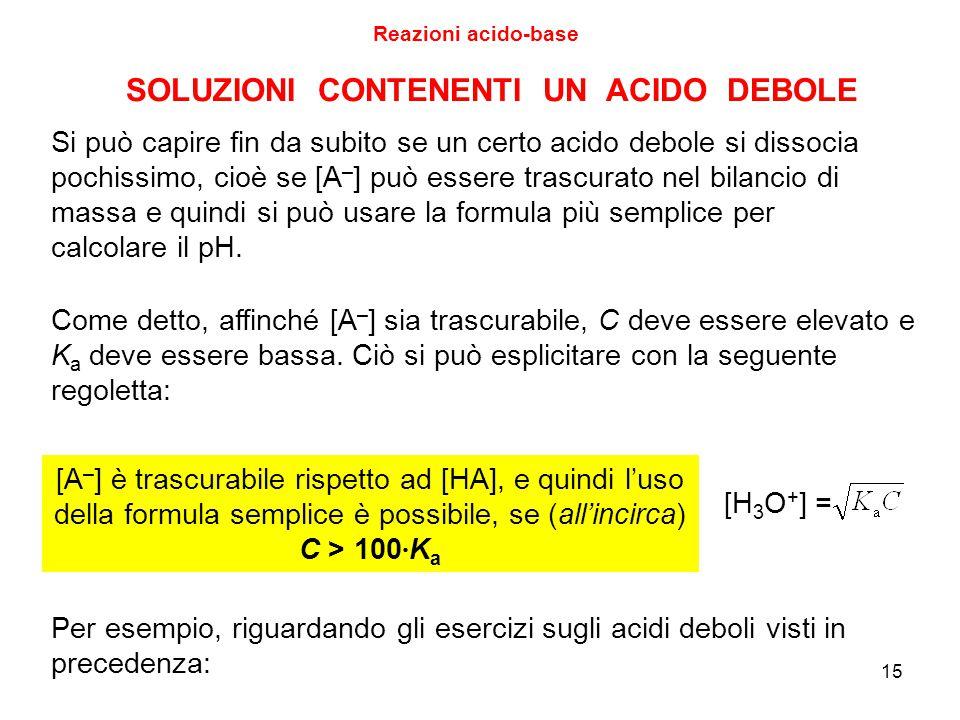 15 SOLUZIONI CONTENENTI UN ACIDO DEBOLE Reazioni acido-base [A – ] è trascurabile rispetto ad [HA], e quindi l'uso della formula semplice è possibile,