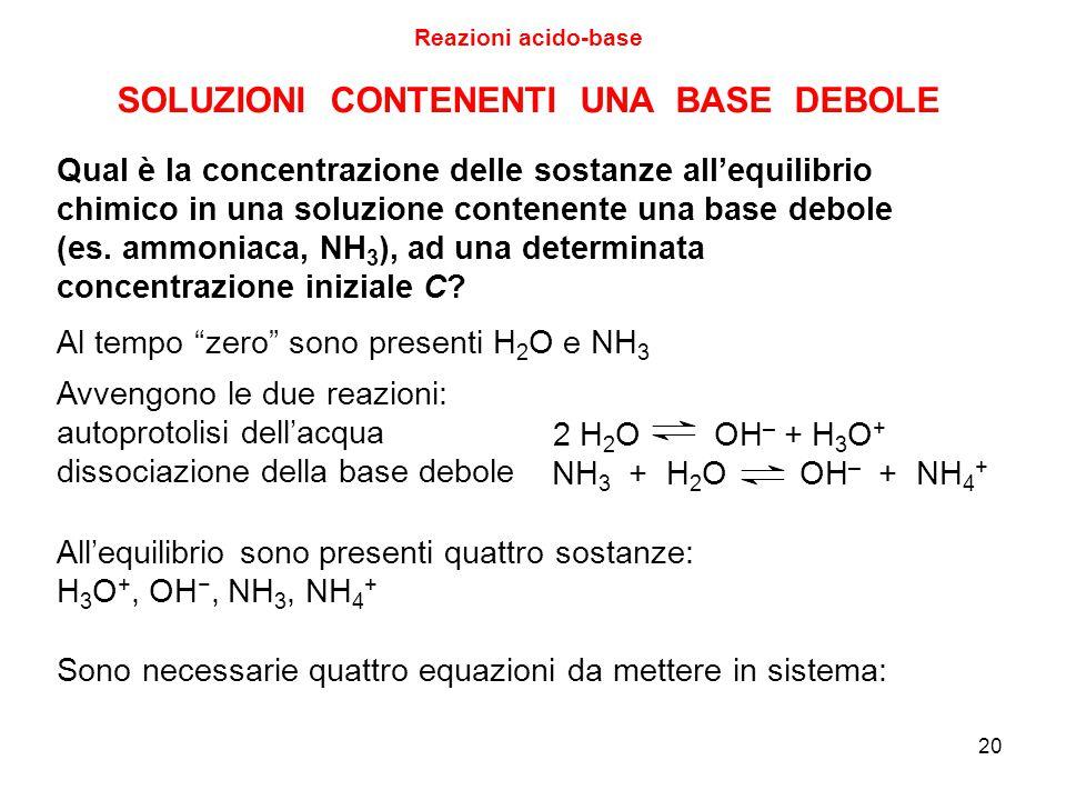 Qual è la concentrazione delle sostanze all'equilibrio chimico in una soluzione contenente una base debole (es. ammoniaca, NH 3 ), ad una determinata