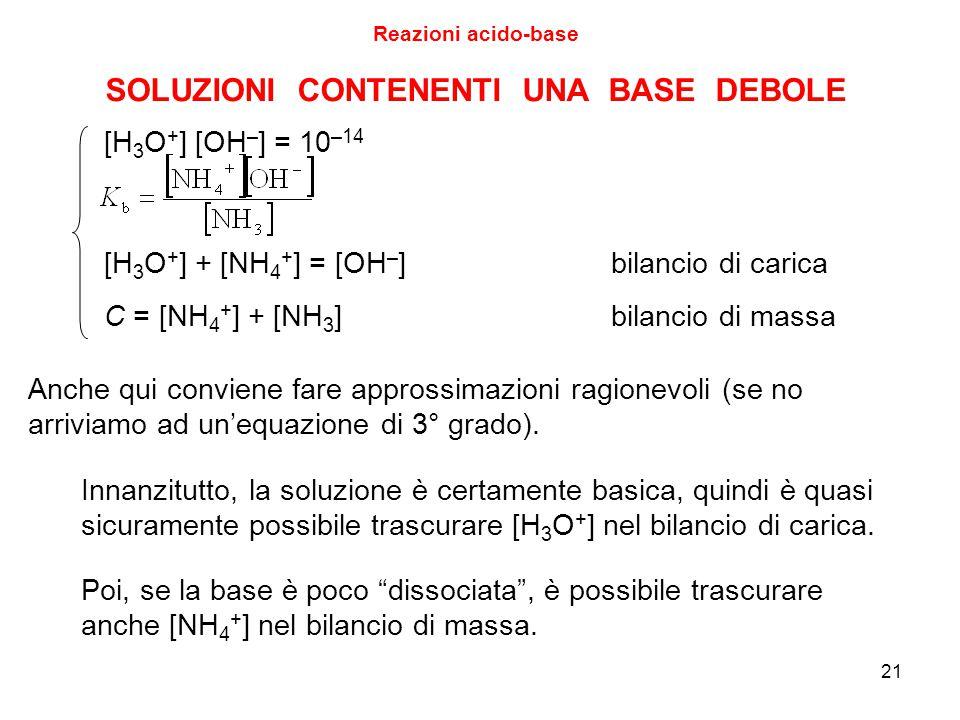21 SOLUZIONI CONTENENTI UNA BASE DEBOLE [H 3 O + ] [OH – ] = 10 –14 [H 3 O + ] + [NH 4 + ] = [OH – ]bilancio di carica C = [NH 4 + ] + [NH 3 ]bilancio