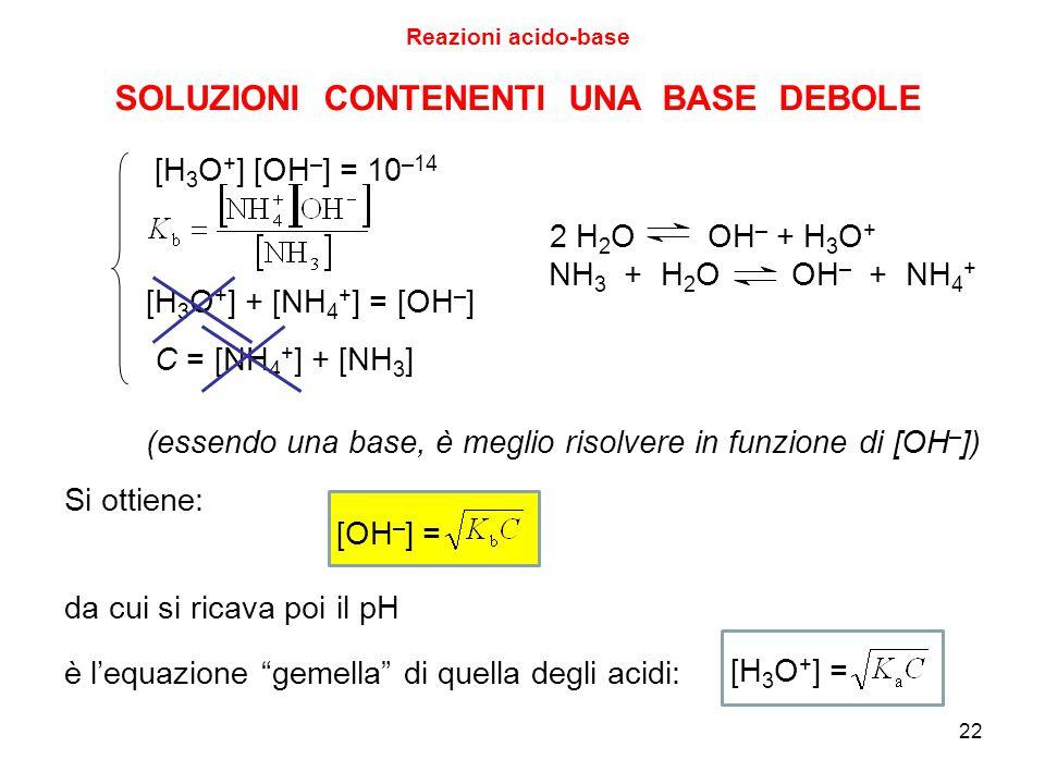 22 SOLUZIONI CONTENENTI UNA BASE DEBOLE [H 3 O + ] [OH – ] = 10 –14 [H 3 O + ] + [NH 4 + ] = [OH – ] C = [NH 4 + ] + [NH 3 ] (essendo una base, è megl