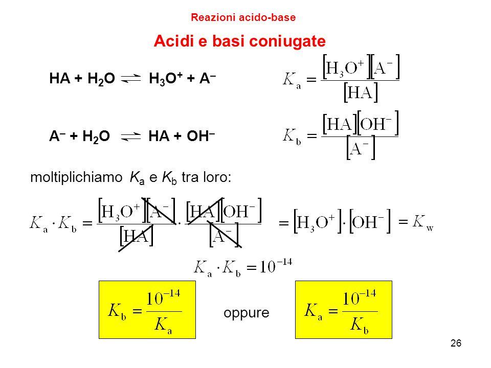26 Acidi e basi coniugate Reazioni acido-base HA + H 2 O H 3 O + + A – A – + H 2 O HA + OH – moltiplichiamo K a e K b tra loro: oppure