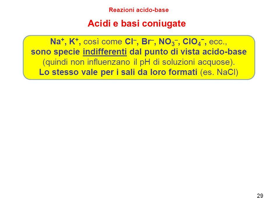 29 Acidi e basi coniugate Na +, K +, così come Cl –, Br –, NO 3 –, ClO 4 −, ecc., sono specie indifferenti dal punto di vista acido-base (quindi non i