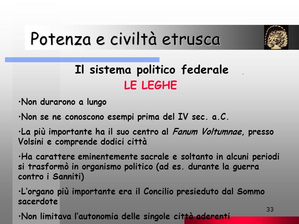 33 Potenza e civiltà etrusca Potenza e civiltà etrusca Il sistema politico federale.