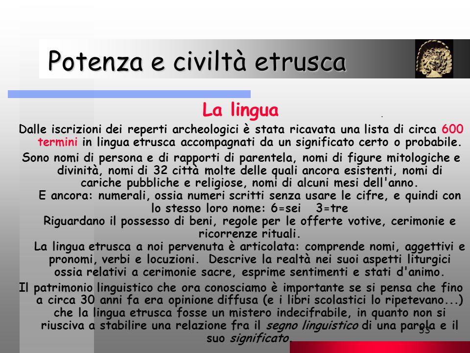 53 Potenza e civiltà etrusca Potenza e civiltà etrusca La lingua Dalle iscrizioni dei reperti archeologici è stata ricavata una lista di circa 600 termini in lingua etrusca accompagnati da un significato certo o probabile.