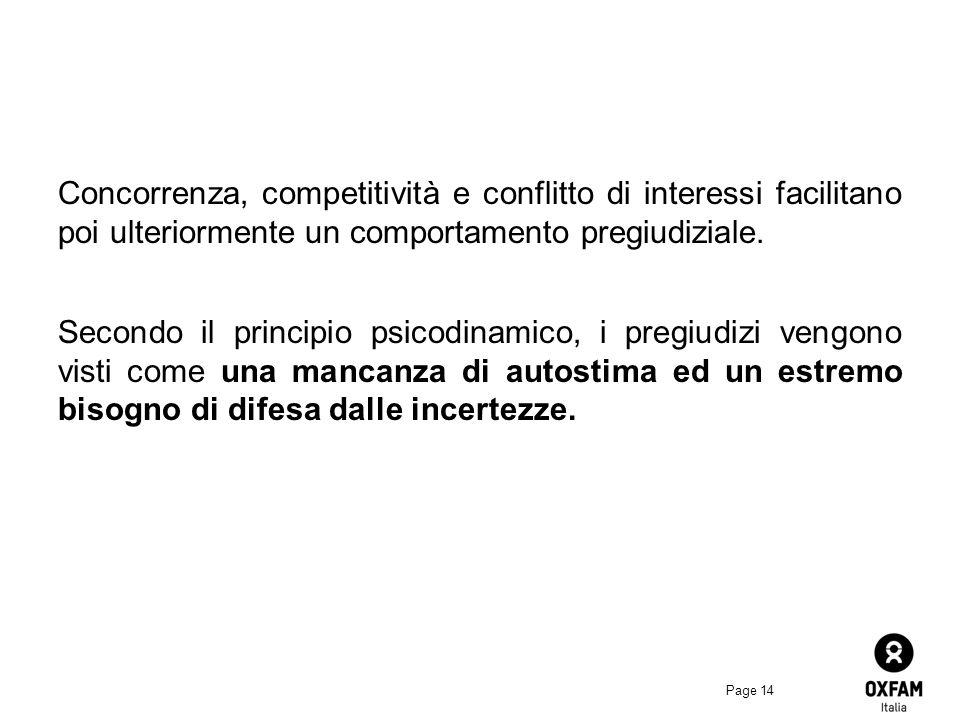 Page 14 Concorrenza, competitività e conflitto di interessi facilitano poi ulteriormente un comportamento pregiudiziale.