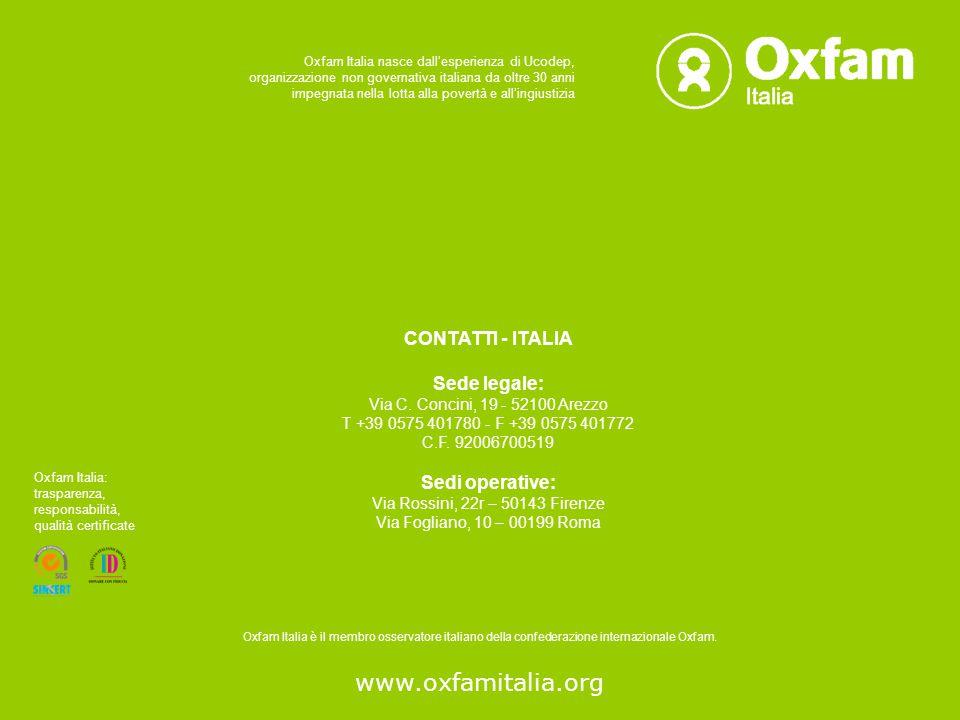 www.oxfamitalia.org CONTATTI - ITALIA Sede legale: Via C.