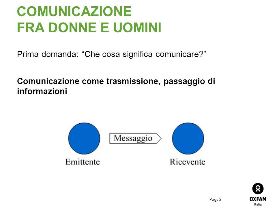 Page 2 COMUNICAZIONE FRA DONNE E UOMINI Prima domanda: Che cosa significa comunicare? Comunicazione come trasmissione, passaggio di informazioni