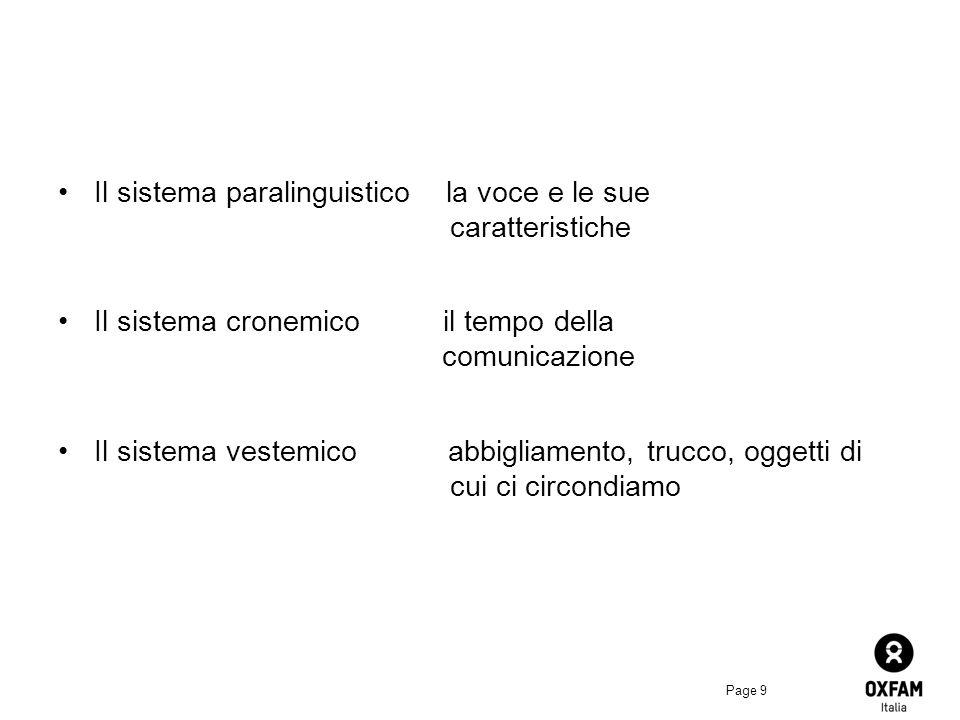 Page 9 Il sistema paralinguistico la voce e le sue caratteristiche Il sistema cronemico il tempo della comunicazione Il sistema vestemico abbigliamento, trucco, oggetti di cui ci circondiamo
