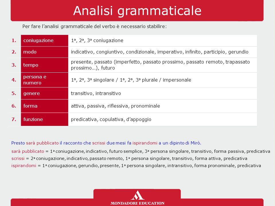 Analisi grammaticale Per fare l'analisi grammaticale del verbo è necessario stabilire: 1.coniugazione1 a, 2 a, 3 a coniugazione 2.modoindicativo, cong