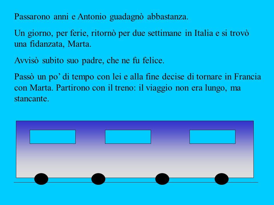 Passarono anni e Antonio guadagnò abbastanza. Un giorno, per ferie, ritornò per due settimane in Italia e si trovò una fidanzata, Marta. Avvisò subito