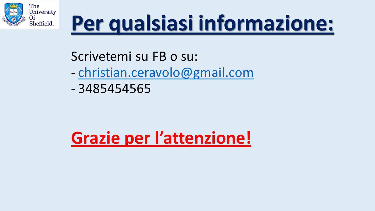 Scrivetemi su FB o su: -christian.ceravolo@gmail.comchristian.ceravolo@gmail.com -3485454565 Grazie per l'attenzione! Per qualsiasi informazione: