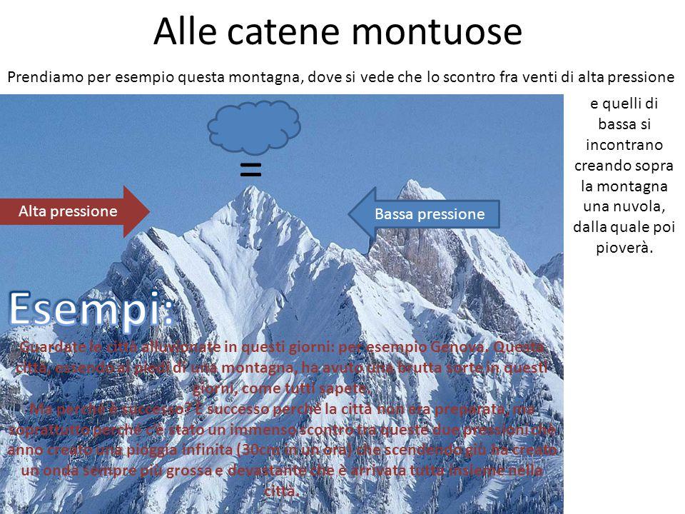Alle catene montuose Prendiamo per esempio questa montagna, dove si vede che lo scontro fra venti di alta pressione Alta pressione = Bassa pressione e