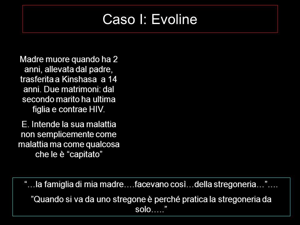 Caso I: Evoline Madre muore quando ha 2 anni, allevata dal padre, trasferita a Kinshasa a 14 anni.