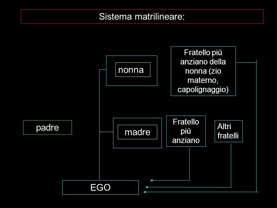 EGO padre madre Fratello più anziano Altri fratelli nonna Fratello più anziano della nonna (zio materno, capolignaggio) Sistema matrilineare: