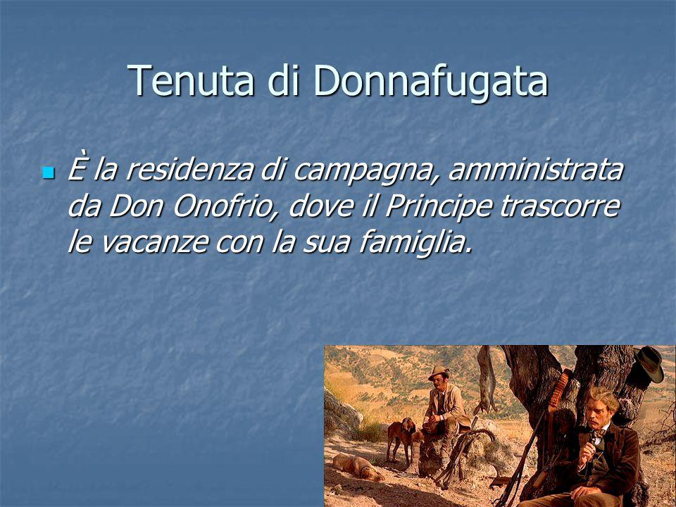 Tenuta di Donnafugata È la residenza di campagna, amministrata da Don Onofrio, dove il Principe trascorre le vacanze con la sua famiglia. È la residen