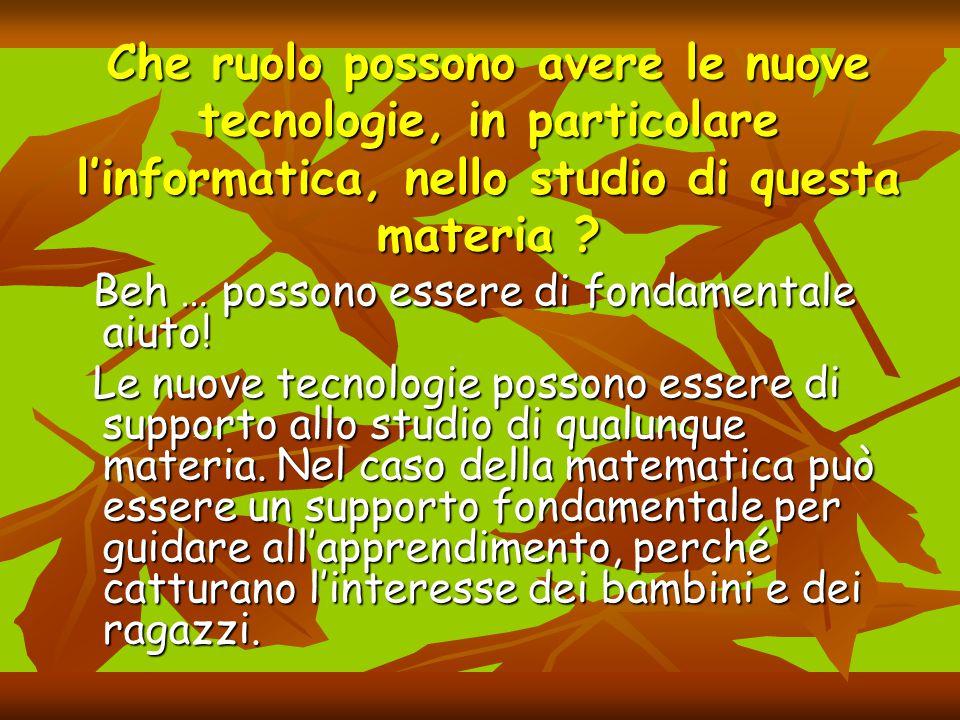 Che ruolo possono avere le nuove tecnologie, in particolare l'informatica, nello studio di questa materia ? Beh … possono essere di fondamentale aiuto