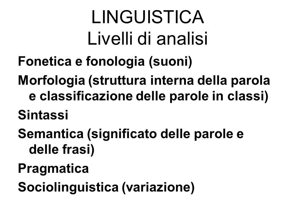 LINGUISTICA Livelli di analisi Fonetica e fonologia (suoni) Morfologia (struttura interna della parola e classificazione delle parole in classi) Sinta
