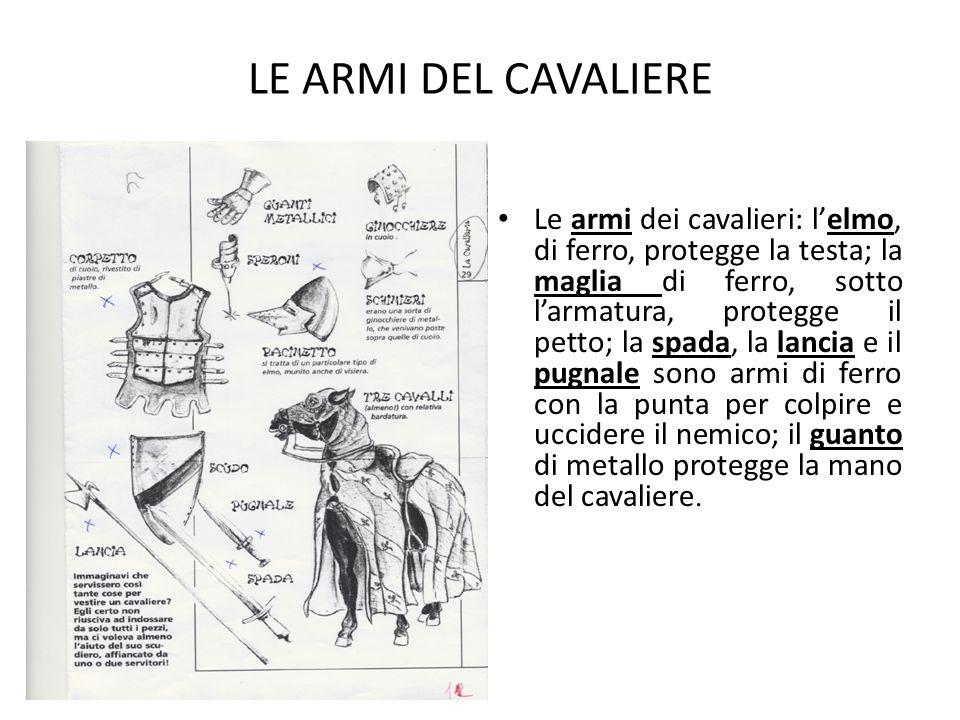 LE ARMI DEL CAVALIERE Le armi dei cavalieri: l'elmo, di ferro, protegge la testa; la maglia di ferro, sotto l'armatura, protegge il petto; la spada, l