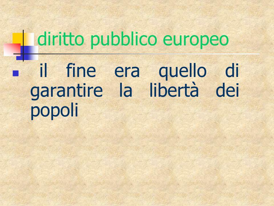 diritto pubblico europeo il fine era quello di garantire la libertà dei popoli