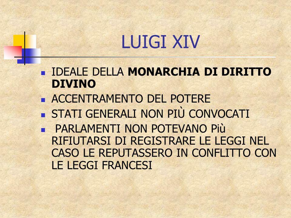 LUIGI XIV IDEALE DELLA MONARCHIA DI DIRITTO DIVINO ACCENTRAMENTO DEL POTERE STATI GENERALI NON PIÙ CONVOCATI PARLAMENTI NON POTEVANO Più RIFIUTARSI DI REGISTRARE LE LEGGI NEL CASO LE REPUTASSERO IN CONFLITTO CON LE LEGGI FRANCESI