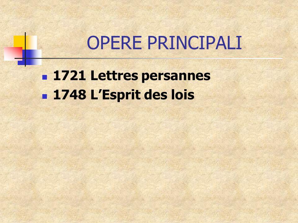 OPERE PRINCIPALI 1721 Lettres persannes 1748 L'Esprit des lois