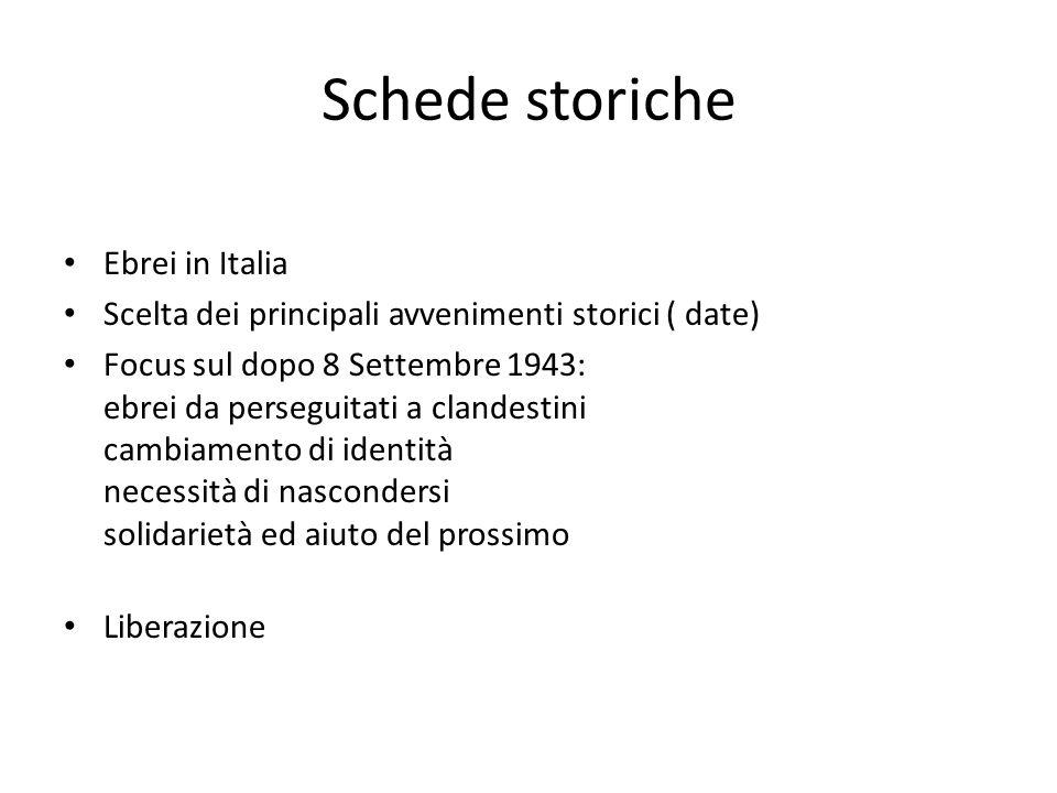 Schede storiche Ebrei in Italia Scelta dei principali avvenimenti storici ( date) Focus sul dopo 8 Settembre 1943: ebrei da perseguitati a clandestini