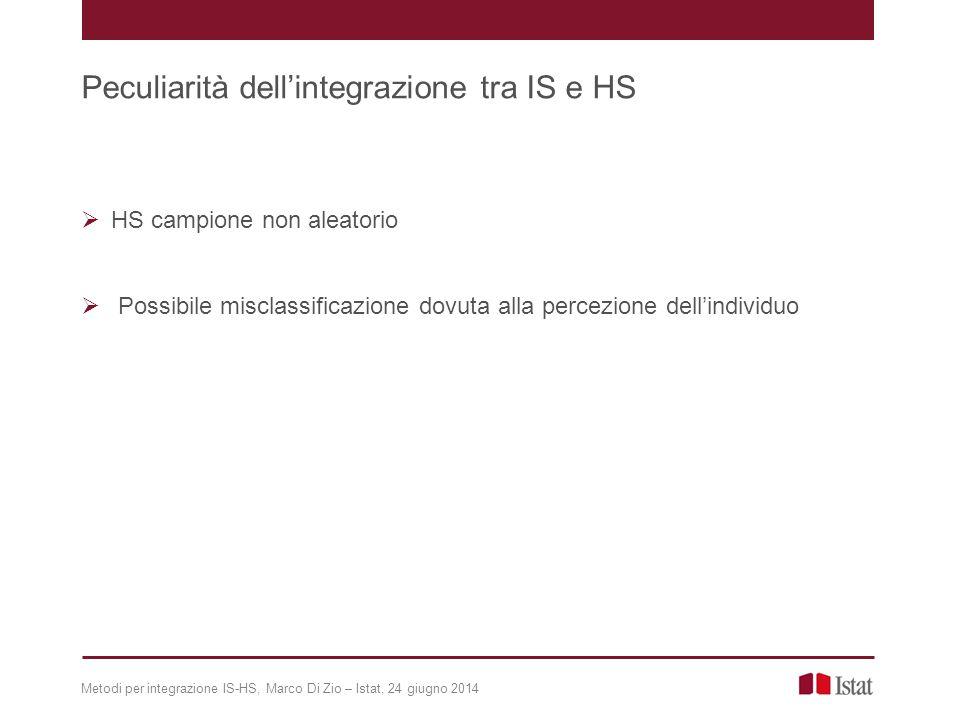  HS campione non aleatorio  Possibile misclassificazione dovuta alla percezione dell'individuo Metodi per integrazione IS-HS, Marco Di Zio – Istat, 24 giugno 2014 Peculiarità dell'integrazione tra IS e HS