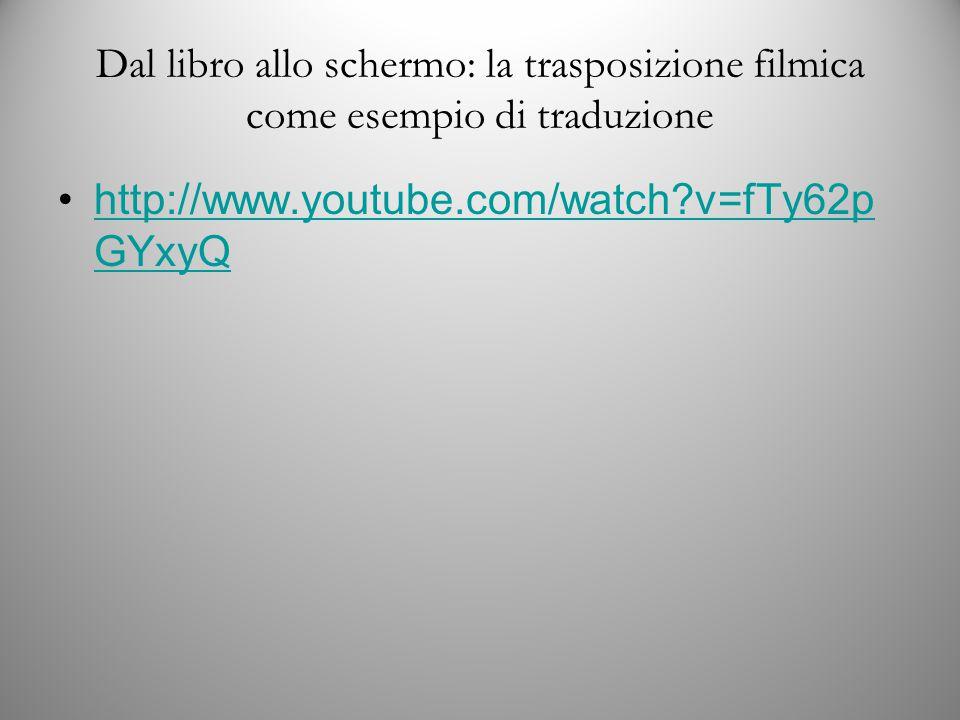Dal libro allo schermo: la trasposizione filmica come esempio di traduzione http://www.youtube.com/watch v=fTy62p GYxyQhttp://www.youtube.com/watch v=fTy62p GYxyQ